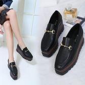 豆豆鞋復古鬆糕鞋厚底豆豆方頭坡 麥吉良品