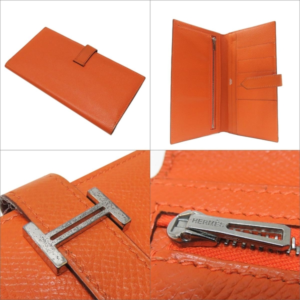 HERMES 愛馬仕 Bearn Soufflet Orange 橘色牛皮H字對折長夾 □I刻銀釦 VGC BRAND OFF