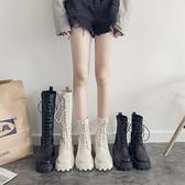 馬丁靴女秋新款彈力襪靴百搭英倫風厚底短靴春秋單靴高幫長靴 歐韓流行館