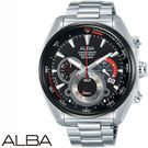 ALBA 黑紅立體三眼大錶面計時鋼帶男錶x45mm AU2197X1 VK63-X027D 公司貨|名人鐘錶高雄門市