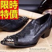 尖頭鞋 男真皮皮鞋-金屬頭繡花增高時尚男鞋子58w76[巴黎精品]