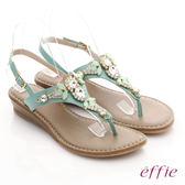 effie 嬉皮假期 真皮Y字水鑽釦環楔型涼拖鞋 淺綠