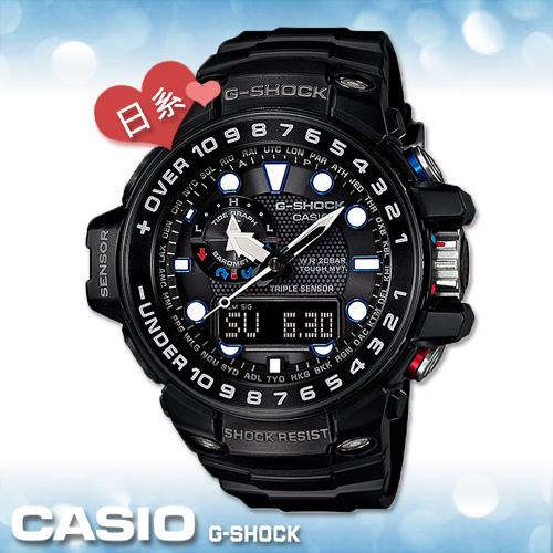 CASIO 卡西歐 手錶專賣店 GWN-1000B-1A JF G-SHOCK 電波錶 日本版 橡膠錶帶 高度 氣壓 溫度 潮汐圖
