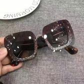 方形閃片炫酷方框太陽鏡女經典時尚墨鏡周青揚明星眼鏡裝飾潮 【618中慶大促】