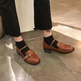 日系復古女粗跟單鞋學生原宿圓頭娃娃鞋學院風英倫軟妹方跟小皮鞋 黛尼時尚精品