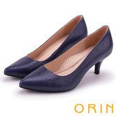 ORIN 典雅名媛 壓紋牛皮素面百搭尖頭跟鞋-藍色