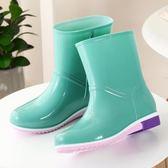 雨鞋女短筒成人雨靴正韓時尚防水鞋女士加絨防滑加棉中筒水鞋膠鞋