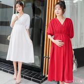 A字洋裝 夏裝新款寬鬆短袖V領孕婦連身裙時尚中長款夏季孕婦裙 DR16478【Rose中大尺碼】