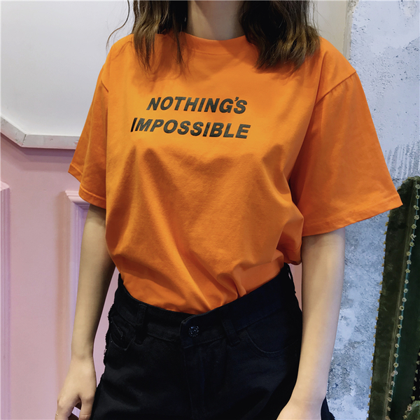 現貨 情侶裝 純棉短T MIT台灣製【Y0880-12】短袖-NOTHING S IMPOSSIBLE 快速出貨 沒有不可能的事