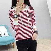 黑白條紋t恤女抽繩個性寬鬆上衣新款夏韓版短袖體恤