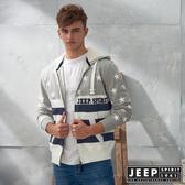 【JEEP】美式潮流星星圖騰連帽外套 (灰)