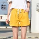 休閒短褲短褲女夏21純棉韓版寬鬆直筒顯瘦高腰百搭休閒五分闊腿運動短褲 快速出貨