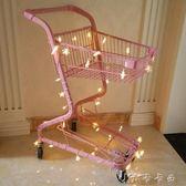 購物車 粉色少女心雙層超市購物車商場手推車拍照道具網紅寵物店裝飾擺件 卡卡西YYJ