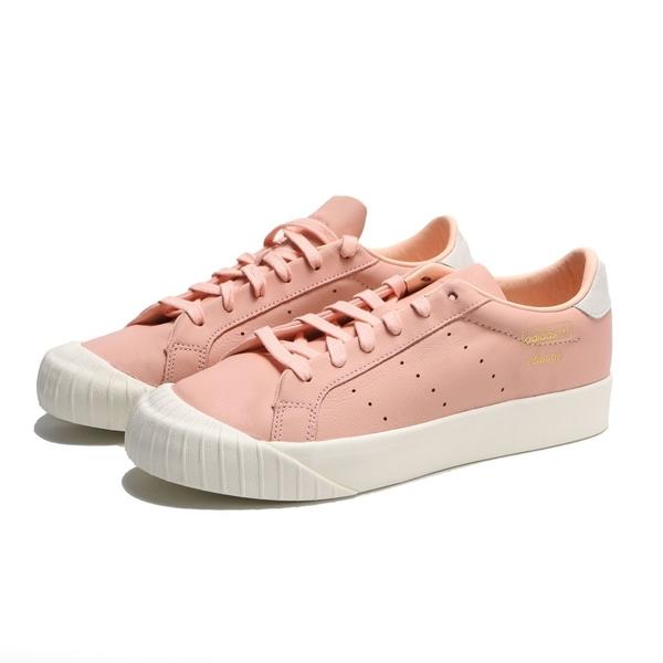 ADIDAS 休閒鞋 EVERYN 粉白 皮革 復古 金標 餅乾鞋 女 (布魯克林) B37450