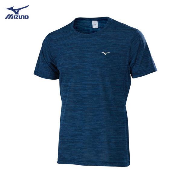 Mizuno 男裝 上衣 短袖 T恤 合身版 吸汗 快乾 深藍 【運動世界】32TA800622