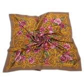 Christian Dior 華麗粉色玫瑰花(大)領巾(駝色)179018-4