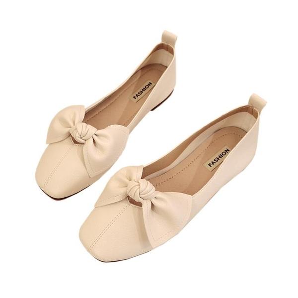 平底方頭單鞋女奶奶鞋2020春夏季淺口百搭豆豆鞋蝴蝶結一腳蹬瓢鞋『向日葵生活館』