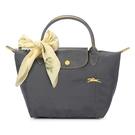 Longchamp 1621 LE PLIAGE 奔馬刺繡短提把小型尼龍摺疊水餃包(鐵灰色-含帕巾)480206-300