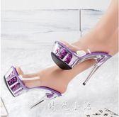 夏季性感恨天高女鞋 鋼管舞鞋新娘婚鞋 15cm/公分超高跟水晶涼鞋 晴光小語
