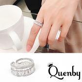 Quenby 微個性感雙層閃耀鋯石食指中指戒指/銀飾