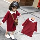*╮小衣衫S13╭*女童氣質撞色小清新翻領酒紅長袖連身裙1091204