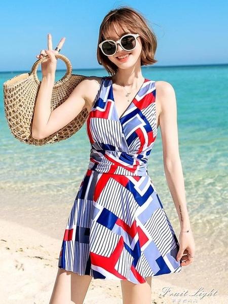 泳衣女保守2020新款顯瘦遮肚連身裙式時尚性感韓國ins溫泉游泳裝 果果輕時尚