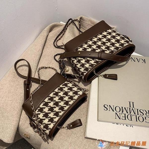 時尚水桶包爆款小包包女高級鏈條包質感單肩斜挎包【公主日記】