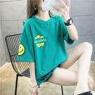 短袖上衣7803#(6535棉)夏季新款寬松韓版印花貼布短袖T恤女NE416 韓依紡