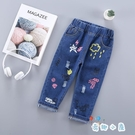 女童春秋裝時尚寬鬆褲子長褲牛仔褲【奇趣小屋】