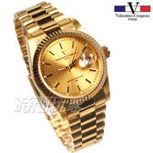 valentino coupeau 范倫鐵諾 都會風格 鈦合金離子電鍍 防水手錶 男錶 金色 復古復刻 V12169K金大