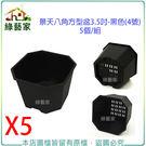 【綠藝家】景天八角方型盆3.5吋-黑色(4號)5個/組