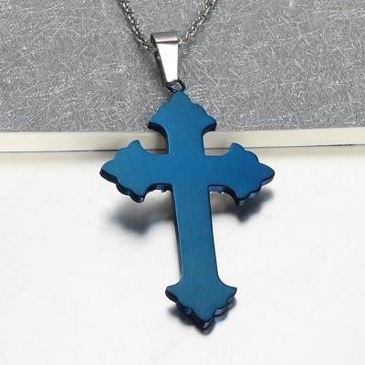 鈦鋼 天使之翼 經典藍色情侶款 吊墜 316精鋼 十字 男 女 禮物 聖經 經文 沂軒精品