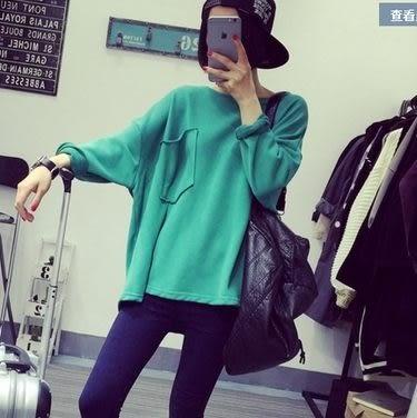 EASON SHOP(GT6196)韓國早秋純色素色單色不修邊卷邊捲邊單口袋寬鬆長袖圓領T恤上衣