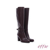 effie 保暖靴 素面牛皮金裝飾扣長靴  咖啡
