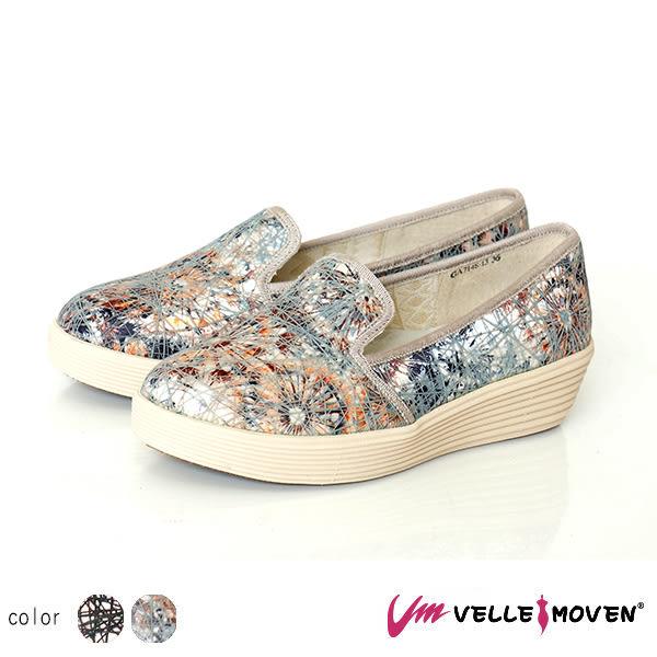 懶人鞋 厚底鞋 Velle Moven 休閒便鞋 舒適好穿好脫 增高 渲染線性交織個性鞋 /鈦質銀