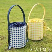 斜背包-格紋斜背水桶包 小白花  多用 水桶包 隨身 側背包【SBG29-C117S】S'AIME東京企劃