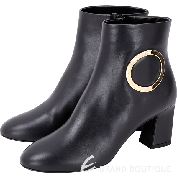 Roger Vivier Chunky Anneau 金屬環飾粗跟踝靴(黑色) 1810556-01