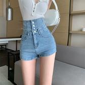 超高腰收腹單排扣牛仔短褲女 顯瘦修身牛仔熱褲 依米迦