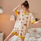 短袖睡衣 夏季女士睡衣純棉家居服薄款韓版可愛公主風短袖兩件套裝春秋冬女 爾碩