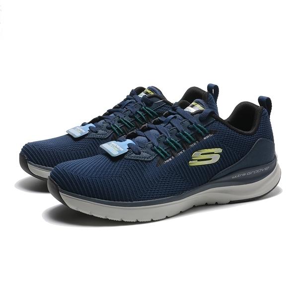 SKECHERS 休閒鞋 ULTRA GROOVE 深藍 螢綠LOGO 網布 運動 健走 男 (布魯克林) 232146NVY