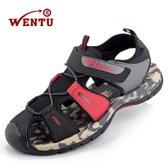 夏季包頭涼鞋男新款戶外休閒運動皮涼鞋軟底潮越南男士沙灘鞋