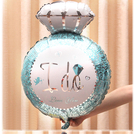 一定要幸福哦~~藍色大鑽戒鋁箔氣球47*62公分,婚禮裝飾布置,求婚道具, 婚紗照錫箔球 生日
