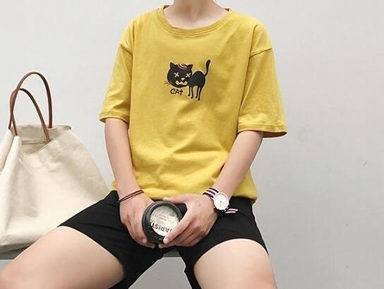 FINDSENSE MD 日系 時尚 潮 男 休閒 寬鬆 卡通小貓圖案 特色短T