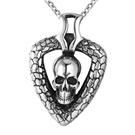 《QBOX 》FASHION 飾品【CHE386】精緻個性歐美復古三角形骷顱頭鑄造鈦鋼墬子項鍊/掛飾