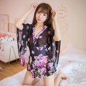 超薄性感日式和服睡衣套裝情趣誘惑騷透明蕾絲網紗日系印花睡裙短 完美情人精品館 YXS