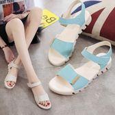 新款軟底防滑孕婦皮涼鞋女平底學生韓版簡約魔術貼夏季女鞋子     9號潮人館