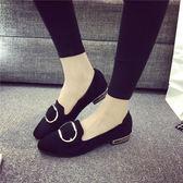 2018春季韓版新款淺口豆豆鞋女低跟平底尖頭單鞋百搭休閒黑色瓢鞋