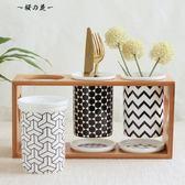 創意陶瓷雙筒三筒廚房置物架防霉瀝水筷子筒筷子籠筷籠筷子桶套裝【櫻花本鋪】