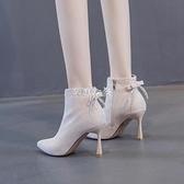 歐美少女水鉆短靴女尖頭細跟蝴蝶結高跟鞋季新款馬丁靴瘦瘦