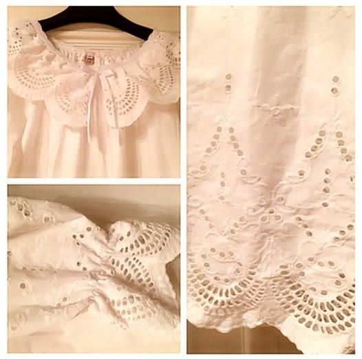 [協貿國際]春秋梭織純棉布純白蕾絲電腦刺繡孕婦家居服
